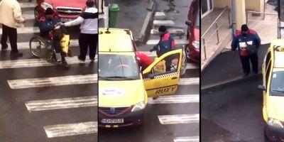 VIDEO Cersetorul care aduna plase de bani s-a dat de gol. A fost filmat cand s-a ridicat din scaun si a urcat in taxi