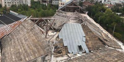 O bucata din acoperisul fostei fabrici de bere Rahova a cazut peste linia de tramvai