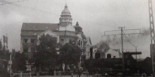 FOTO Cu trenul prin centrul Timisoarei. Vechea linie de cale ferata trecea pe locul unde s-a ridicat Catedrala Mitropolitana