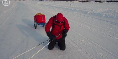 VIDEO Imagini sfasietoare cu Useriu la Cercul Polar. Romanul s-a ridicat din genunchi si a pornit mai departe, dupa 460 de kilometri prin iadul alb